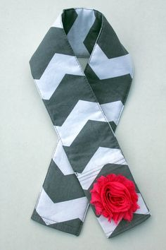 Grey Chevron Camera Strap Cover With Flower - Choose Your Flower Color - 18 Color Choices - Padded - Lens Cap Pocket - DSLR - SLR