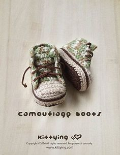 Crochet Pattern Baby Booties Camouflage Baby Boots | So, so cute!