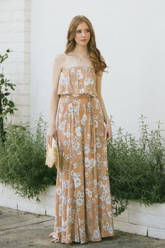 Shop the Clarisse Floral Strapless Maxi Dress - boutique clothing featuring fresh, feminine and affordable styles. Boutique Maxi Dresses, Boutique Clothing, Wedding Guest Style, Strapless Maxi, Flowy Skirt, Affordable Fashion, Elastic Waist, Feminine, Fresh