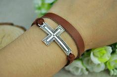 Brown Leather braceletSilvery Cross BraceletWomens by Evanworld, $2.99