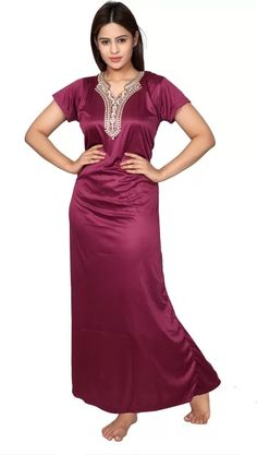 Girls Night Dress, Night Gown, Satin Dresses, Formal Dresses, Bridal Lingerie, Nightwear, Poses, Indian, Pretty