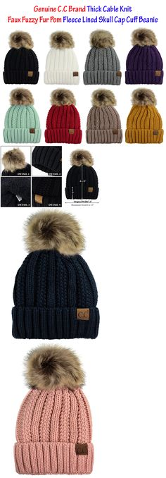 d95f04cd026 Hats 45230  C.C Thick Cable Knit Faux Fuzzy Fur Pom Fleece Lined Skull Cap  Cuff