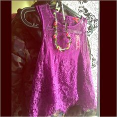 Sz.S/M Purple Lace Crop Top & Floral Hair Band Both brand new w/tags. Fun festival bundle w/Sz.S/M Purple Lace Crop Top & Floral Hair Band. This top is roomy but I don't do well w/crop tops anymore. This is so pretty though. Perfect for summer spring weather. Lace crop top and purple tank under. Elastic floral band. Tops Crop Tops