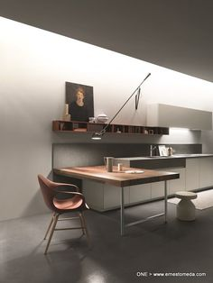 Open-fronted wall units in the kitchen. One design Ernestomeda.