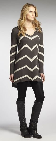Reversible Chevron Dress knit from organic cotton and colored with low-impact dyes.