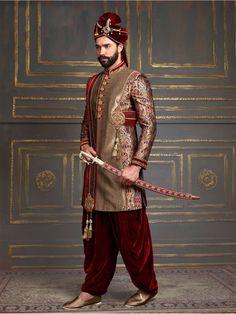 Shop Silk red beige indo western online from India. Sherwani For Men Wedding, Wedding Dresses Men Indian, Sherwani Groom, Mens Sherwani, Wedding Men, Couple Wedding Dress, Wedding Outfits For Groom, Indian Men Fashion, Indian Bridal Fashion