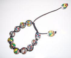 Shamballa Armband mit stark gemusterten Perlen