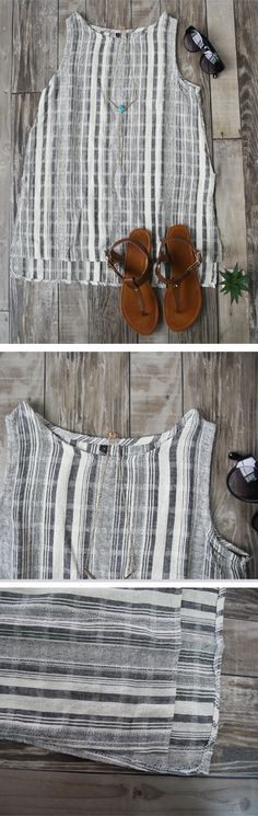 Vertical Striped Tank Top with Split Side,Perfect for the spring and summer, very lightweight & cute tank top. Only $9.90