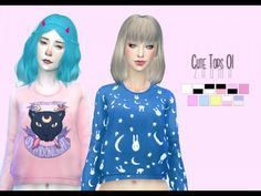 The Sims Resource: Yume – Cute Tops 01 by Zauma • Sims 4 Downloads