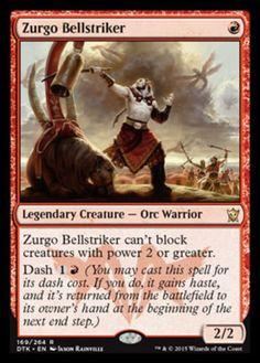 Zurgo Bellstriker mtg Magic the Gathering legendary rare red orc creature card Dragons of Tarkir