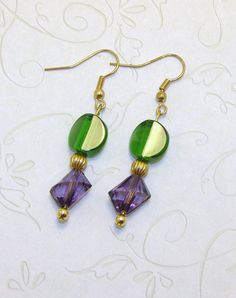 Beautiful Mardi Gras Colors Glass Beaded by CharmedElegance