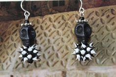 Black Skull Earrings by BeadsbyGill on Etsy