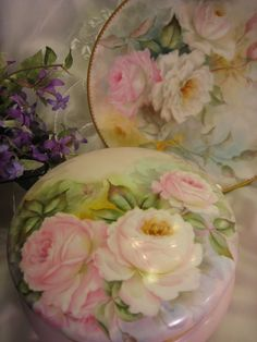 Magnificent T&V Limoges France Outstanding Large French Porcelain Jewel Box Powder Dresser Jar with Gorgeous Hand Painted Roses Tressemann a...