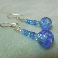 Blue Lampwork Glass Beaded Earrings Handmade | craftybabyhope - Jewelry on ArtFire