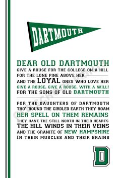 Let the pennant fly for Dear Old Dartmouth with this keepsake alma mater print…