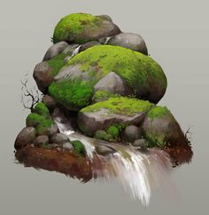 ArtStation - Stone and Moss, Nick Serpilov Digital Painting Tutorials, Digital Art Tutorial, Art Tutorials, Fantasy Landscape, Landscape Art, Landscape Paintings, Watercolor Paintings, Game Concept Art, Landscape Drawings