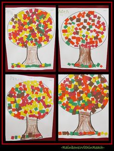 Fall Arts + Crafts: Fun Projects for Children photo of: Fall Trees using Construction Paper 'Mosaic' Leaves (Fall RoundUP via RainbowsWithinReach) Fall Arts And Crafts, Autumn Crafts, Fall Crafts For Kids, Autumn Art, Autumn Trees, Art For Kids, Fall Leaves, Kids Diy, Children Crafts