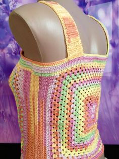 This is stylish Womens crochet sexy top. This is an original and unusual design. Youll be irresistible and sexy. Made with love. 100% handmade.  Size: S chest - 75 - 88 cm. waist - 60 - 70 cm. . Material: 100% microfiber Color: multicolor  *Please bear in mind that photo may slightly different from actual item in terms of color due to the lighting during photo shooting or the monitors display.  *Like it? Come to my shop :) https://www.etsy.com/shop/ElenaVorobey?ref=si_shop
