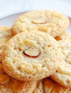 Homemade Chinese Almond Cookies are EASY to make, and a great way to celebrate Chinese New Year! : Homemade Chinese Almond Cookies are EASY to make, and a great way to celebrate Chinese New Year! Crinkle Cookies, Brownie Cookies, Chocolate Chip Cookies, Yummy Cookies, Keto Cookies, Baking Recipes, Cookie Recipes, Dessert Recipes, Almond Recipes