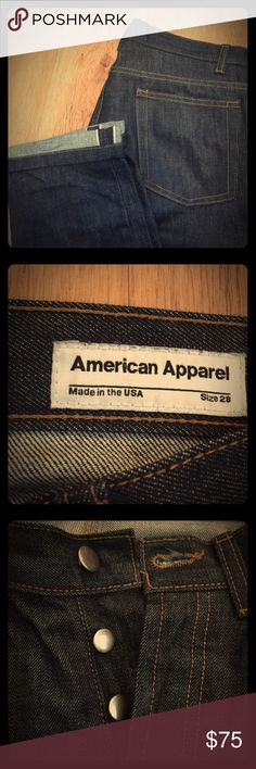 AMERICAN APPAREL Selvedge Denim Jean Hard denim. Like new. Never washed, only dry cleaned. Solid American Apparel construction. I don't fit these anymore. American Apparel no longer exists so consider these a collectible. Be proud to own a piece of fashion history. #RIPAMAP American Apparel Jeans Slim Straight