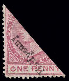 Saint Christopher 1885 ½d on half of carmine-rose Q Victoria, ERROR - surcharge inverted Commonwealth, Saint Christopher, Vintage Stamps, 2d, Islands, Caribbean, British, Victoria, Rose