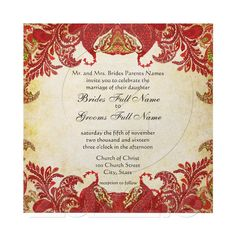 Red, Lime & Orange Vintage Paisley Damask Wedding Personalized Invitation at Zazzle.ca