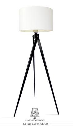 Lampa sztalugowa stojąca LIGHTWOOD czarna biały abażur