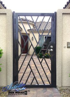 Wrought iron doors are indeed a style from the past. With creativity, you can make your house look more sophisticated with the wrought iron front doors. Steel Gate Design, Iron Gate Design, Side Gates, Entrance Gates, Tor Design, House Design, Garden Design, Grill Gate, Door Grill