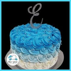 Blue Reverse Ombre Buttercream Rosette Cake – Blue Sheep Bake Shop
