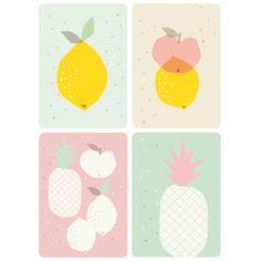 Set de cartes postales fruitées illustrées par Zü sur Les inutiles ! Carte ananas citron pomme, pastel, rose, mint