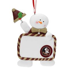 Florida State Seminoles Claydough Snowman With Sign Ornament - $6.99