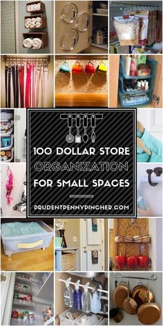 100 Dollar Store Organization Ideas for Small Spaces - Organize your apartment for less with these dollar store DIY ideas. These cheap storage ideas will help you maximize your space throughout your whole house Small Space Storage, Small Space Organization, Organization Hacks, Dollar Store Organization, Clothing Organization, Storage Hacks, Organizing Ideas, Storage Solutions, Dollar Store Hacks
