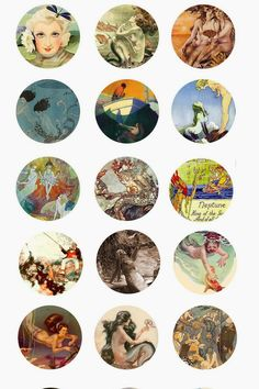 Folie du Jour Bottle Cap Images: Vintage mermaids free bottle cap images 3/3
