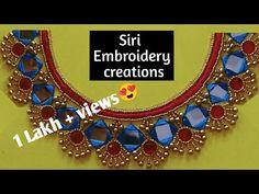 Simple Blouse Designs, Dress Neck Designs, Simple Designs, Hand Embroidery Design Patterns, Kurti Embroidery Design, Embroidery On Kurtis, Embroidery Works, Mirror Work Blouse Design, Gold Work