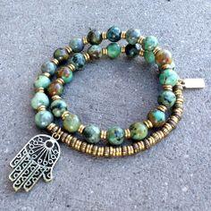 Earthy, and beautiful African Turquoise wrap bracelet! #mala #wristmala #meditation #27beads #turquoise #hamsa #green #earthy #jewelry #blue