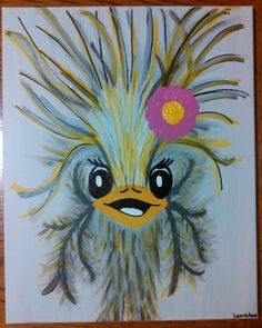 """""""Ostrich"""" Painted for Darby Hobaugh and baby girl Dimee Karsyn Hobaugh ~ By LezlieAnn September 2016"""