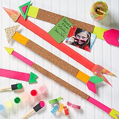 Tween Neon Arrows with Cork - Wall Decor by Linda Barrett. Featuring neon painted bookboard, cork and washi tapes. Perfect for getting the kids out of the house for a few hours - PS summer camp class - running as encores across the country from July - September 2013. Check with any of our paper Source locations for details!