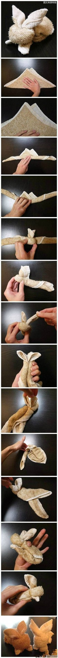 Rabbit towel folding: