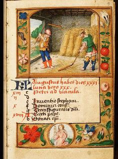 August - Book of Hours in Latin and Dutch (use of Liège), Diocese Liège (Maastricht?), Franciscus Verheyden (scribe); c. 1500-1525 - The Hague, Koninklijke Bibliotheek, 133 D 11