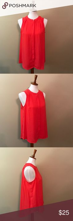 Coral Chiffon Tank Blouse Coral chiffon tank Blouse features a small gold color button near color and slight high low hem. It is perfect for the office - wear with a cardigan if desired. No holds, no trades. Apt. 9 Tops Blouses