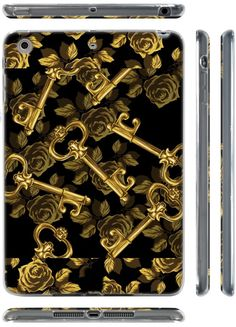 "Amazon.com: Black + Gold {Golden Roses and Keys} Soft & Smooth Silicone Cute 3D Fitted Bumper Back Cover Gel Case for iPad Mini 1, 2 & 3 by Apple ""Durable & Slim Flexible Fashion Cover w/ Amazing Design"": Computers & Accessories"