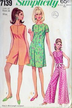 1960s pantdress sewing pattern illustrations.