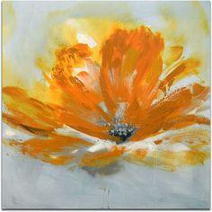 Omax Decor Orange Blossom Flower Original Painting on Canvas