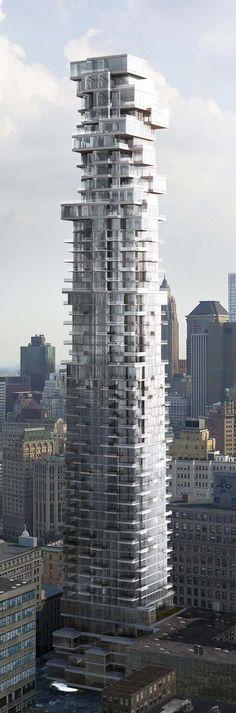 56 Leonard Street Tower, New York City by Herzog & de Meuron Architects :: 60 floors, height 250m :: under construction