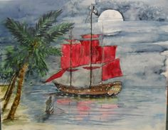 Pirate Ship painting original watercolor  16 by WaterBearerStudios, $140.00