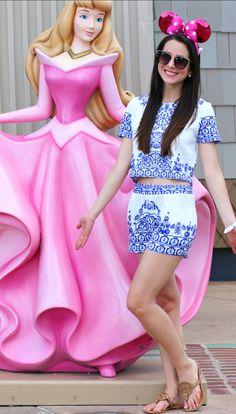 Cute porcelain print crop top and matching shorts set and pink glittery Minnie Mouse ears at Disney Springs in Orlando, FL | Floppy Hats, Hot Pink, and All the Happy Hours: May Instagram Round-Up