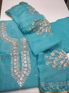ATHARVA Hand Embroidered Indian Salwar Kameez w/Neck | Etsy Embroidery Suits Punjabi, Embroidery Suits Design, Hand Work Embroidery, Embroidery Designs, Stylish Kurtis Design, Stylish Dress Designs, Ladies Suits Indian, Gota Patti Suits, Indian Salwar Kameez