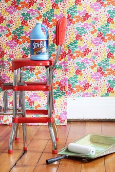 Applying fabric to a wall with liquid starch is a great solution for renters and commitment-phobes alike. A bit time intensive, yes, but the results are just about as good as it gets. And unlike wallpaper, you can take it with you when you move!