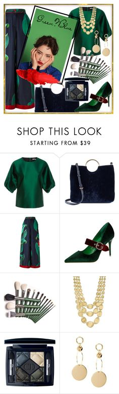 """""""my green and blue Christmas"""" by kanares ❤ liked on Polyvore featuring Rosetta Getty, LC Lauren Conrad, F.R.S For Restless Sleepers, Marco Bicego, Christian Dior, Christmas and GreenandBlue"""