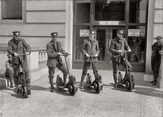 "Washington, D.C., circa 1917. ""Post Office postmen on scooters."" Harris & Ewing Collection glass negative."